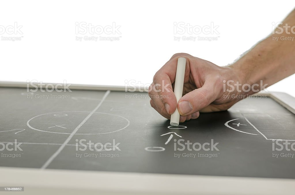 Side view of hand writing a soccer game strategy royalty-free stock photo