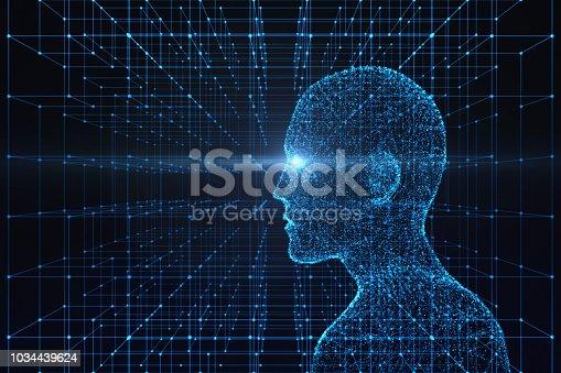 istock Side view of human body with light flare. Model on blue background, artificial intelligence in futuristic technology concept, 3d illustration 1034439624