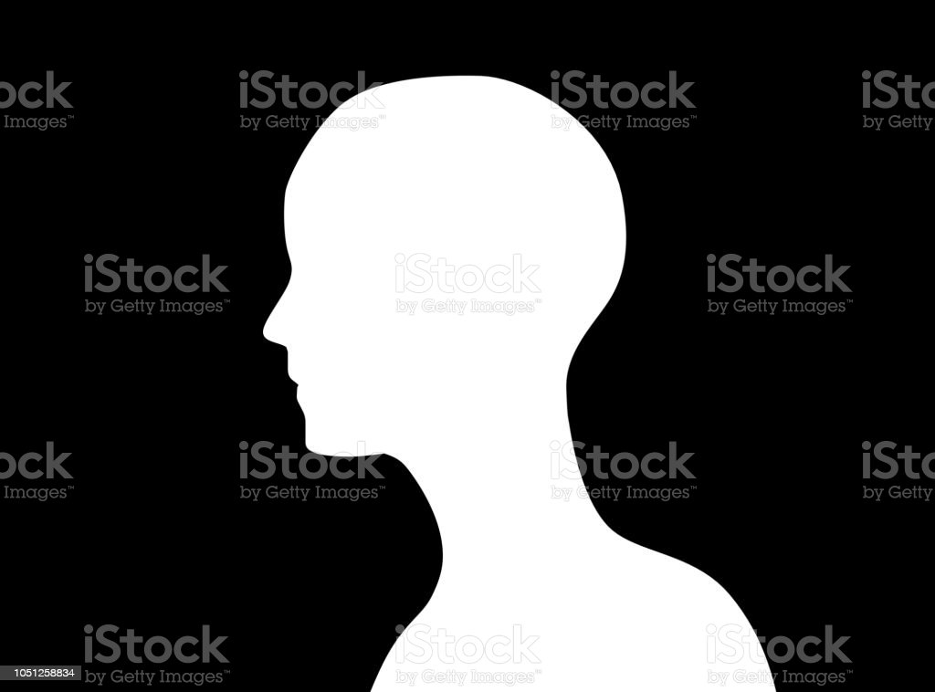 Side view of human head icon shape or profile silhouette isolated on black background. abstract illustration stock photo
