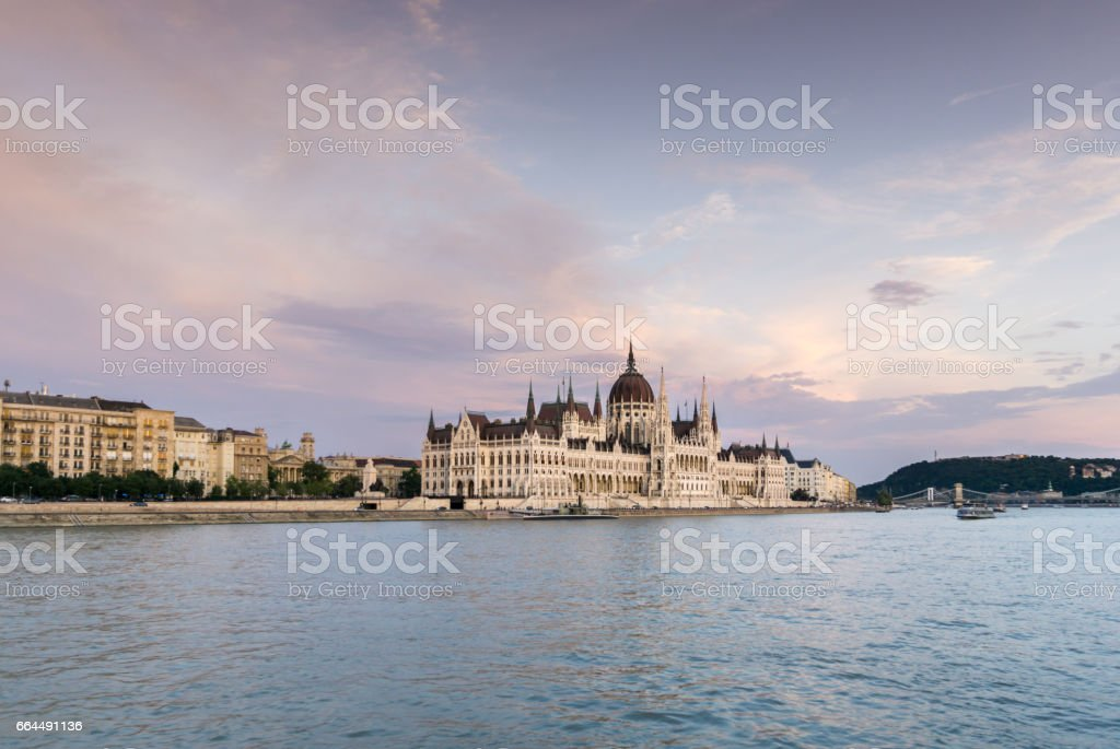 Side View of Hungarian Parliament at Sunset stock photo
