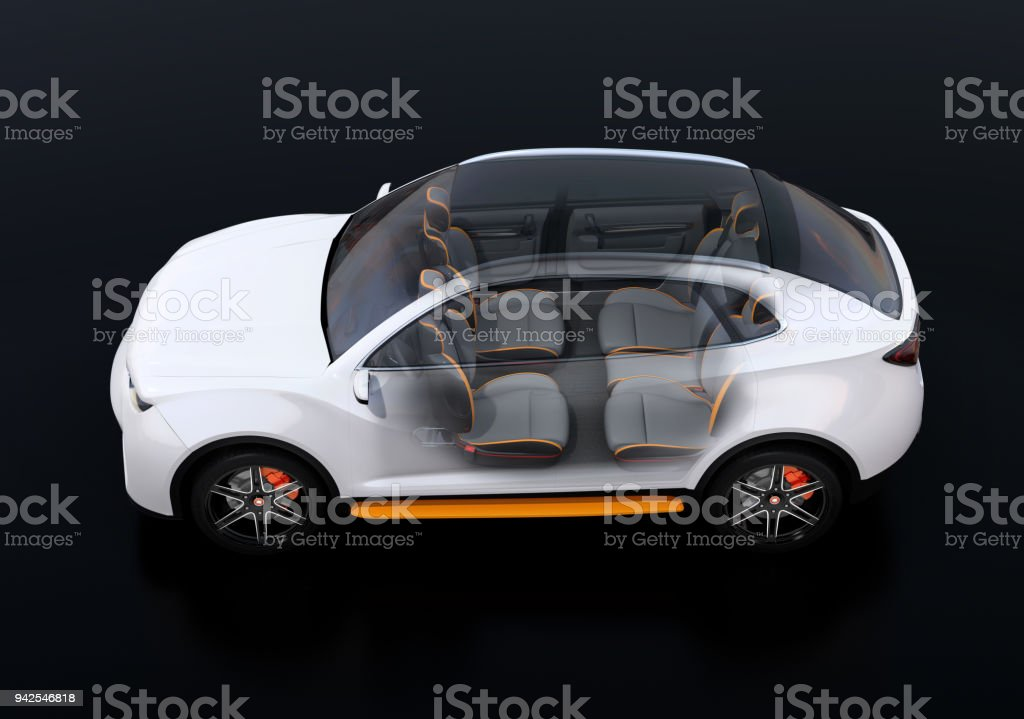 Side view of interior composed Electric SUV car on black background stock photo