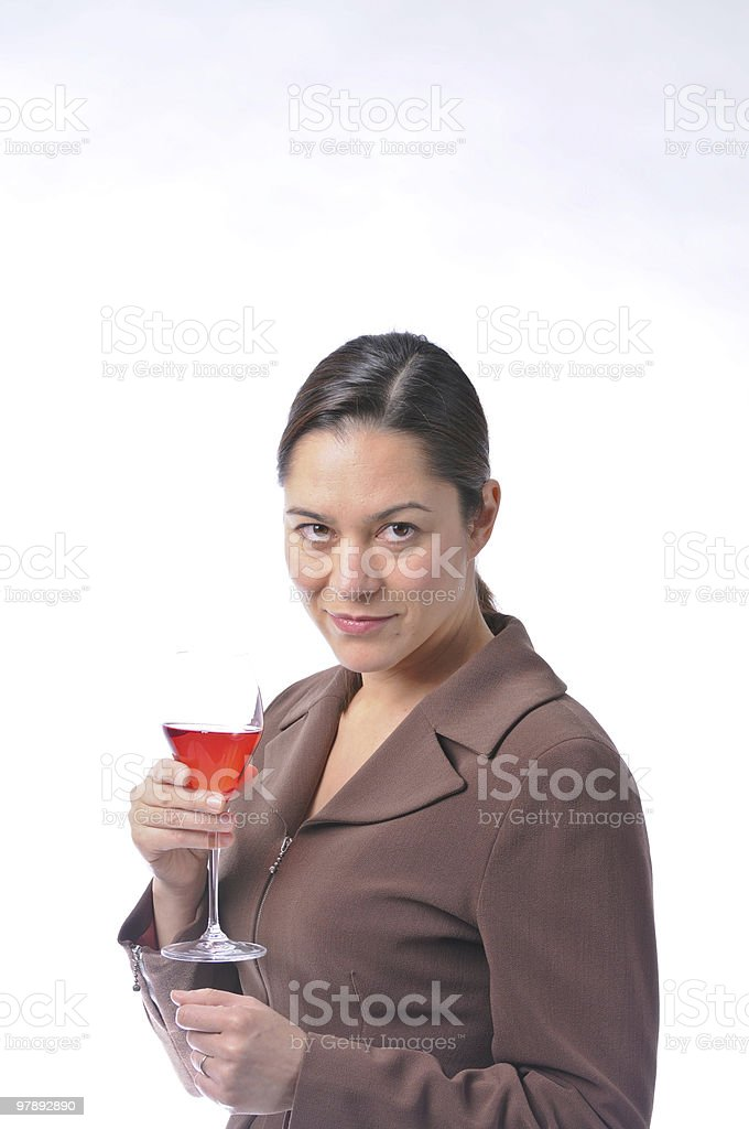 Side view of lady holding a red  wine glass royalty-free stock photo