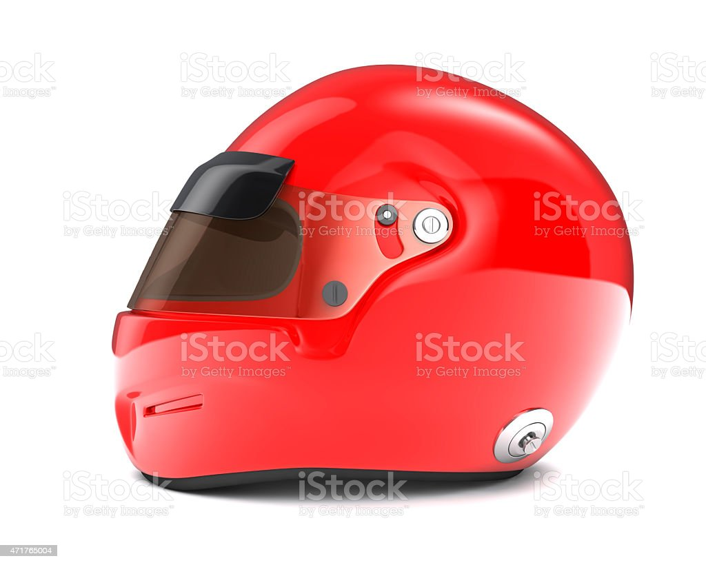 Side view of lone red helmet with brown tinted glass stock photo