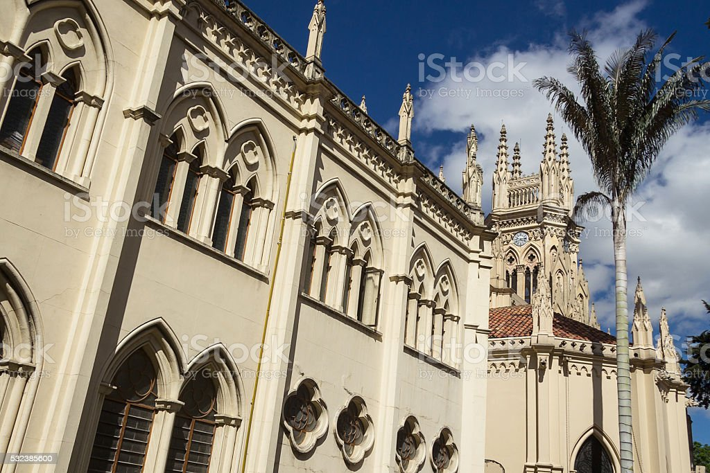 Side view of Lourdes Cathedral at Bogota stock photo