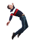 Side view of man in zero gravity or a fall. guy is flying, falling or floating in the air. Side view people collection.  side view of person.  Isolated over white background. Stylish guy in a sweater in zero gravity.