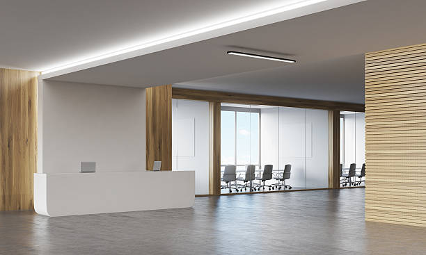 side view of meeting room and reception desk - hall photos et images de collection