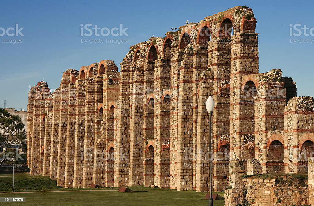 Side view of Merida aqueduct stock photo