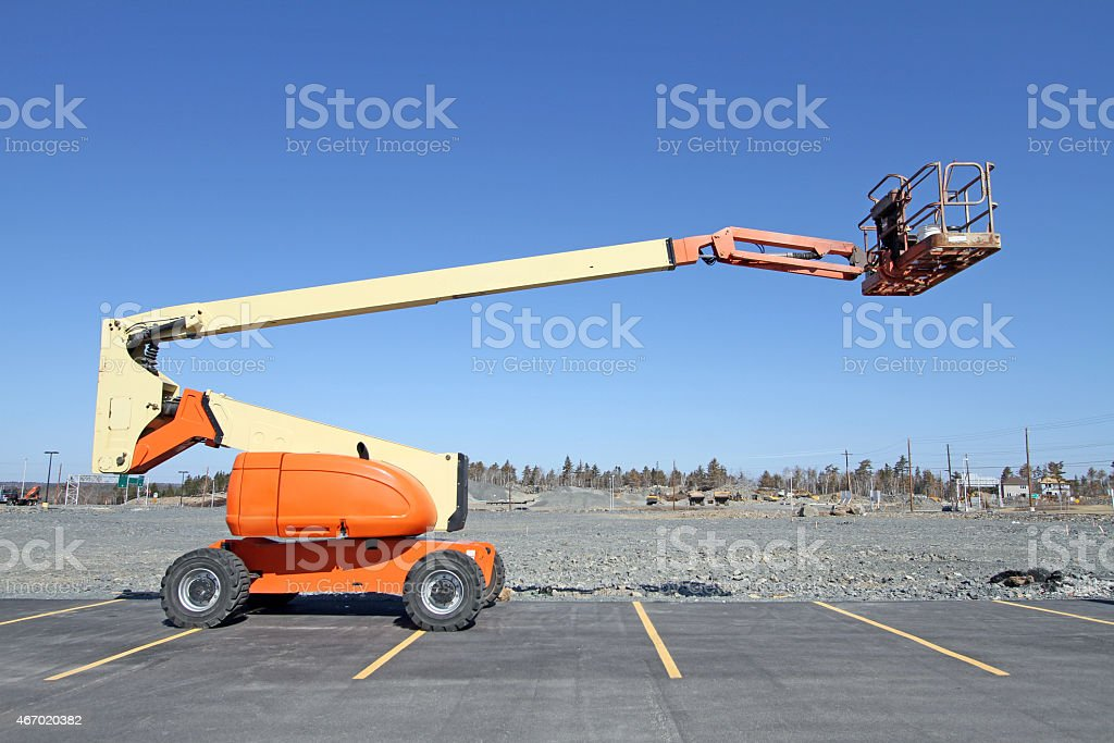 Side View Of Mobile Work Platform On A Construction Site stock photo