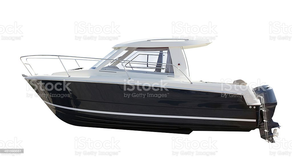 Side view of motor boat. Isolated over white bildbanksfoto