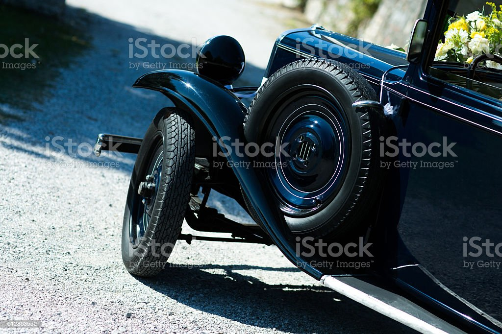 Side view of old fashion vintage car stock photo