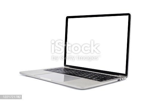 Side view of Open laptop computer. Modern thin edge slim design. Blank white screen display for mockup and gray metal aluminum material body isolated on white background with clipping path.