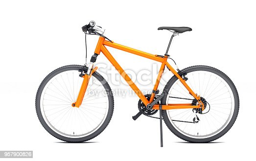 Side view of orange sport bike looks to the left isolated on white background