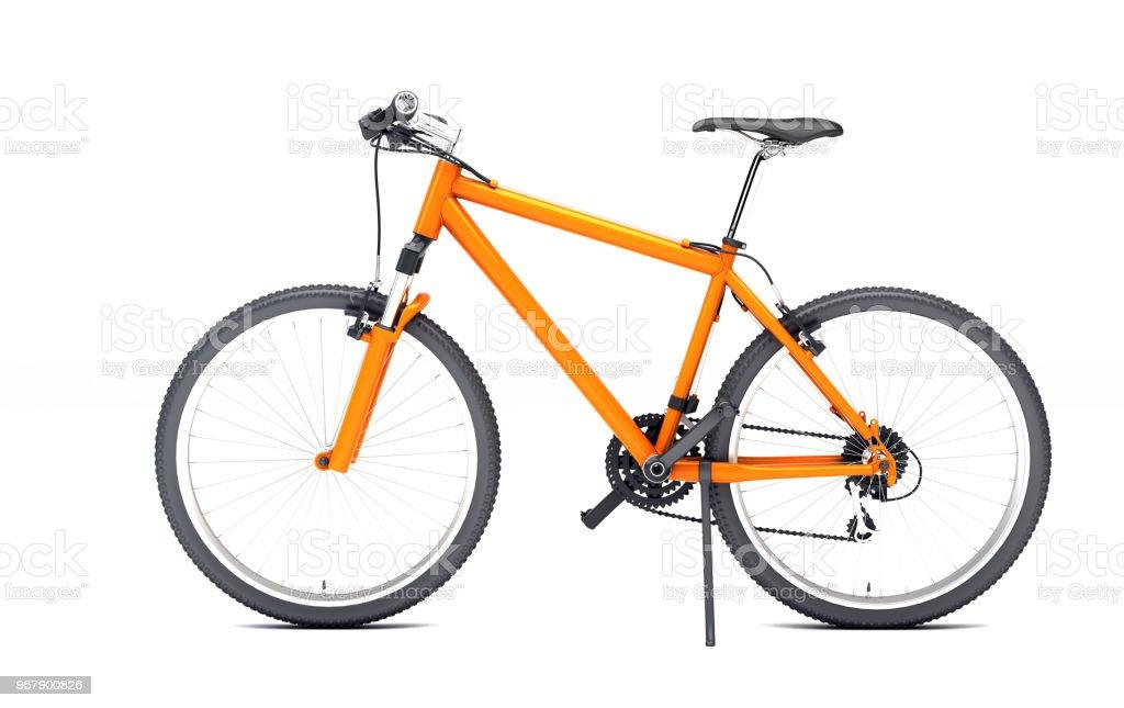 Vista lateral da moto esporte laranja parece para o esquerdo isolado no fundo branco - foto de acervo