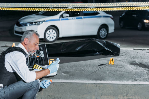 side view of policeman collecting evidence near cross line at crime scene with corpse in body bag stock photo