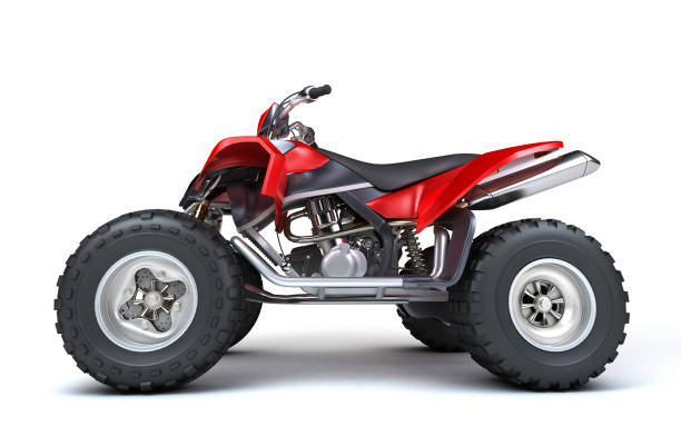 Side view of powerful red ATV quad bike isolated on white background. Perspective. 3D render. Side view of powerful red ATV quad bike isolated on white background. Perspective. 3D render. quadbike stock pictures, royalty-free photos & images