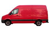 Side view of red delivery van - isolated on white background