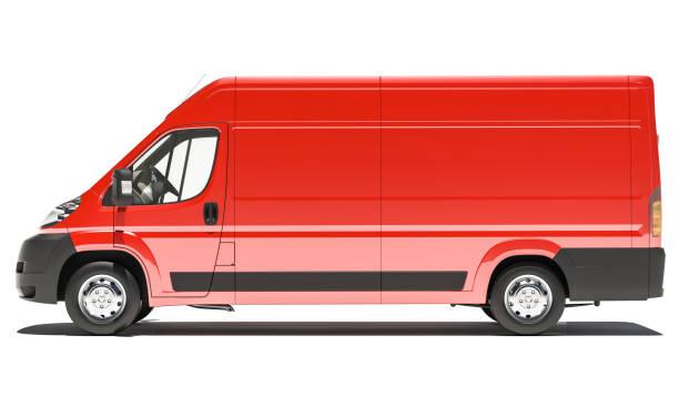 Seitenansicht des roten Lieferwagen – Foto