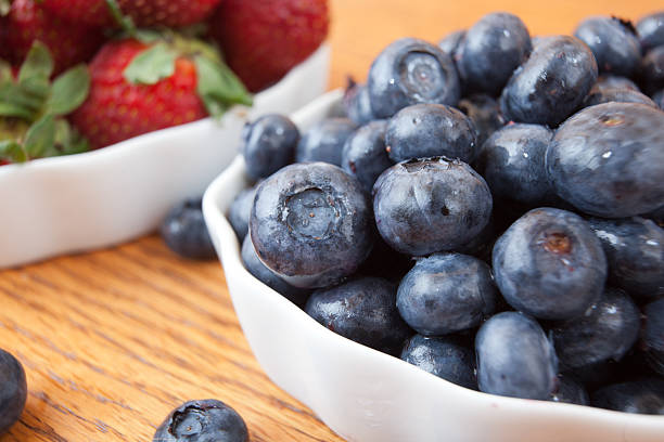 Side view of ripe blueberries stock photo