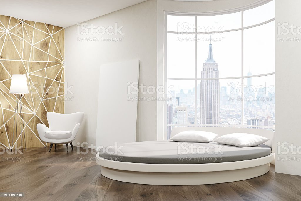 Side View Of Round Bed Bedroom Stock Photo More Pictures of