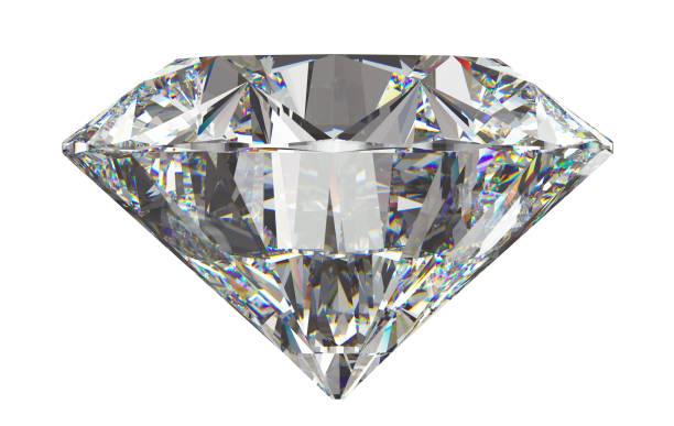 vista lateral de la ronda de diamante aislado en blanco - brillante fotografías e imágenes de stock