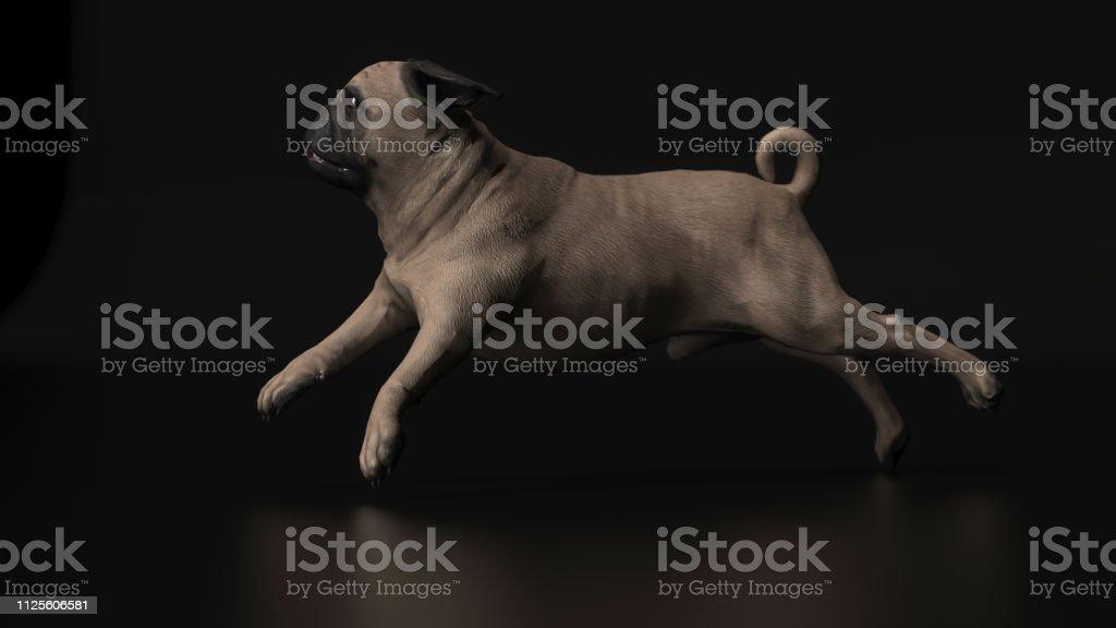 Vista lateral da execução raça pug em ilustração 3d backgorund preto - foto de acervo