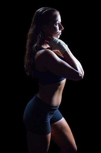 istock Side view of slim athlete 671167070