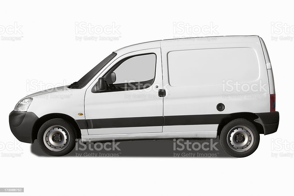 b4f56920fa Side View Of Small White Van Isolated On White Stock Photo   More ...