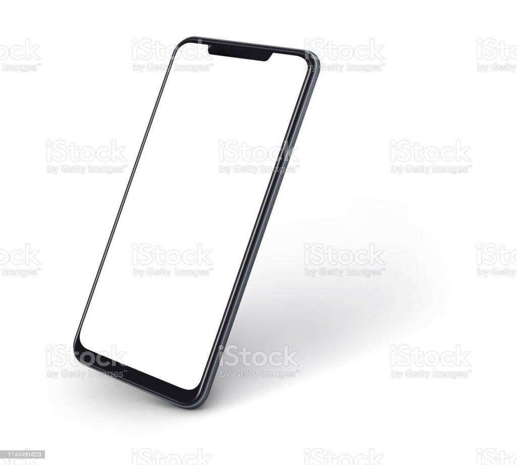 空白の画面とモダンなフレームのないスマートフォンの側面図白に分離されたデザインが少ない - インターネットのロイヤリティフリーストックフォト