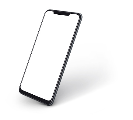 side view of smartphone with blank screen and modern frame less design isolated on white
