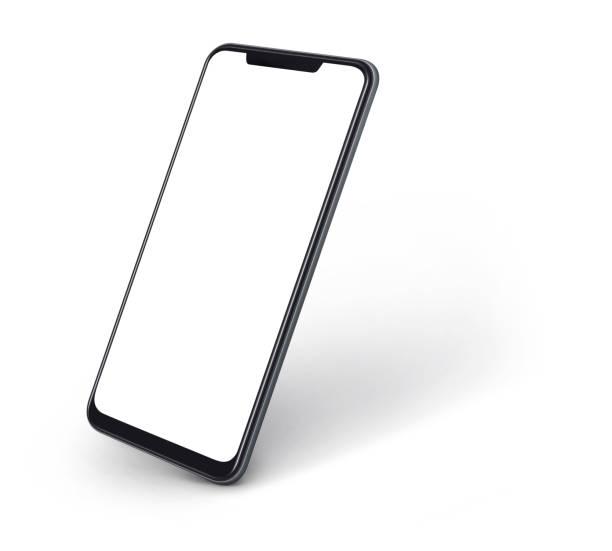vista laterale dello smartphone con schermo vuoto e moderno design frame less isolato su bianco - smart phone foto e immagini stock