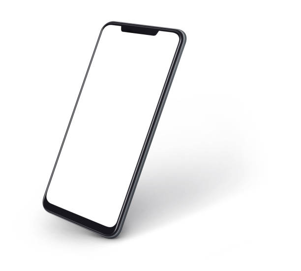 side view of smartphone with blank screen and modern frame less design isolated on white - hand holding phone zdjęcia i obrazy z banku zdjęć