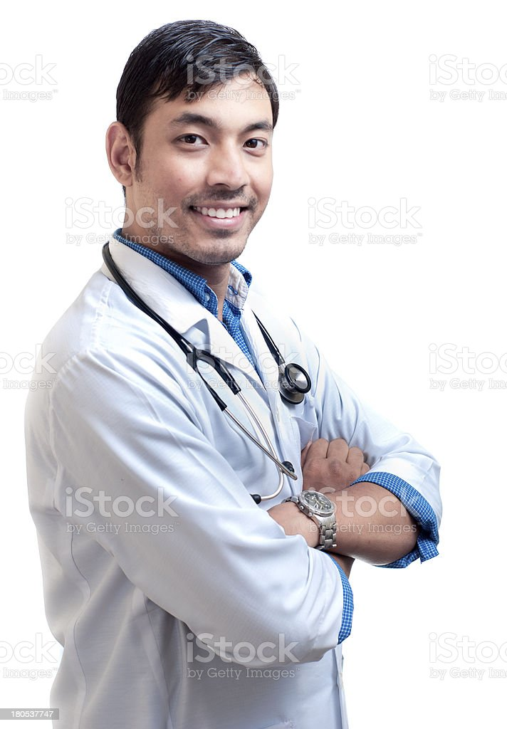 Side View of Smiling Doctor royalty-free stock photo