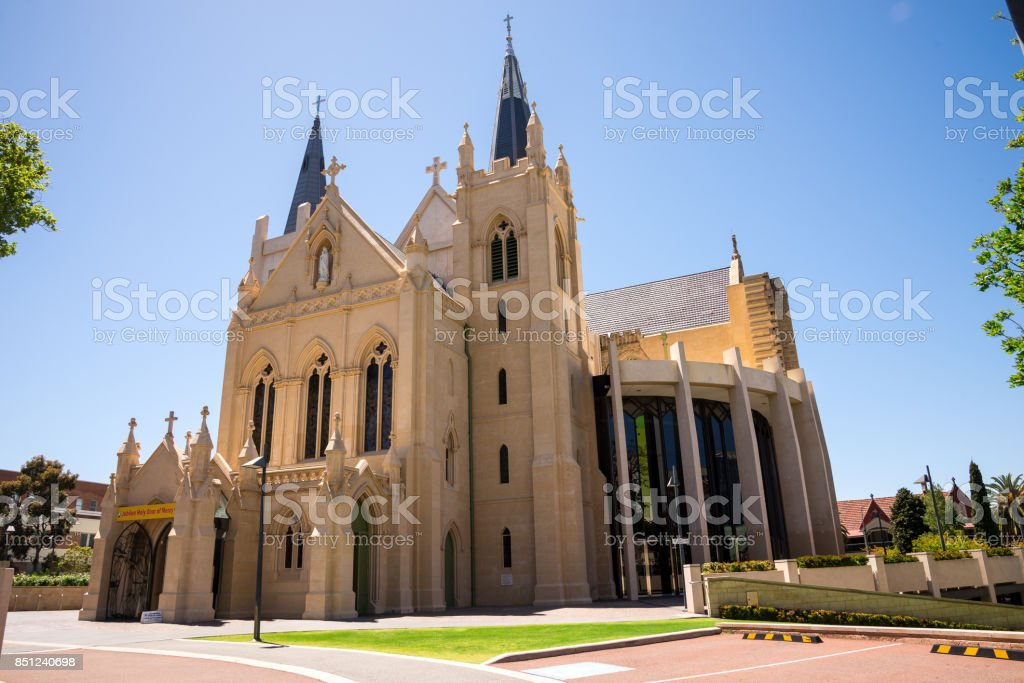 Side View Of St Marys Cathedral Entrance In Perth City Western ... Entrance Doors In Western Australia on