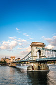 Side View OF Széchenyi Chain Bridge In Budapest, Hungary