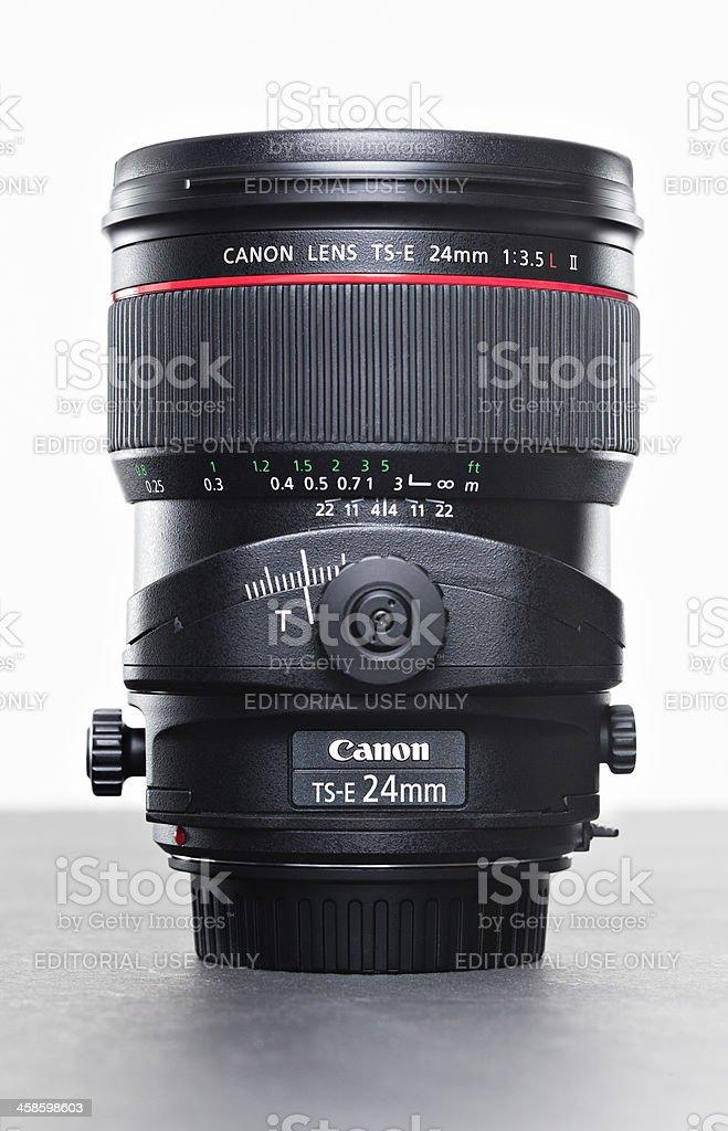 Side View of the Canon 24mm tilt shift lens stock photo