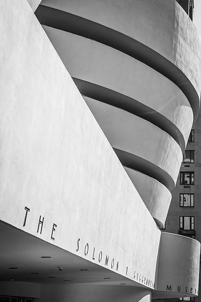 Side view of the Guggenheim Museum, New York stock photo