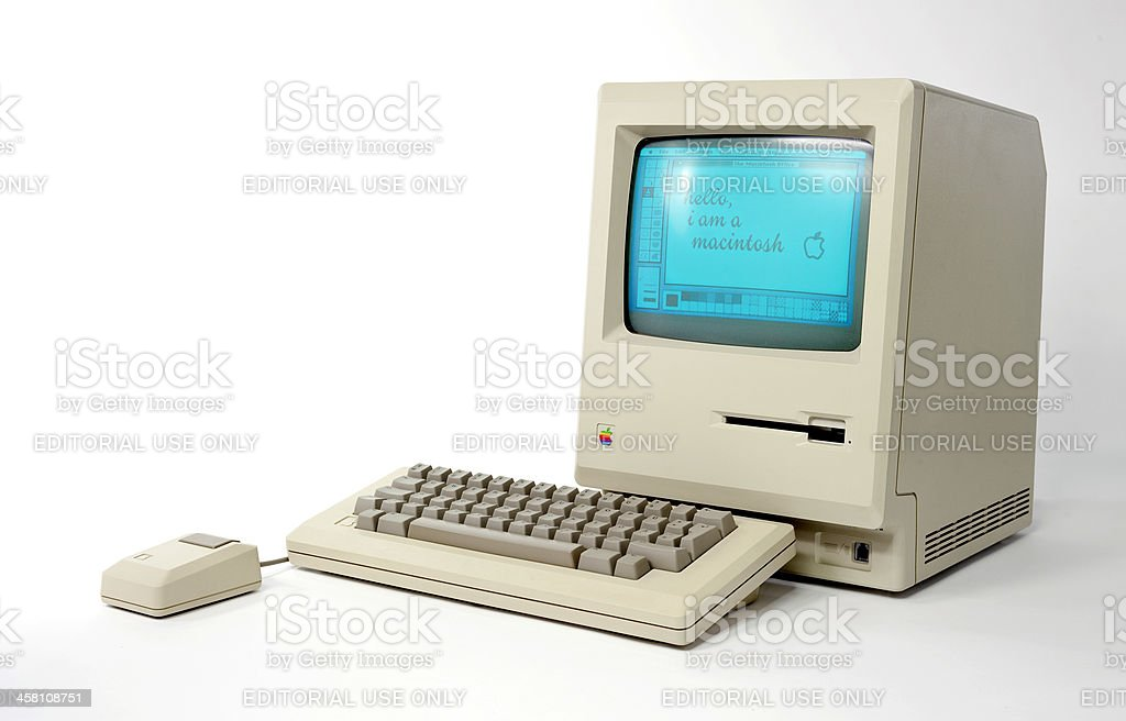 Side View of the Historic Macintosh 128k royalty-free stock photo