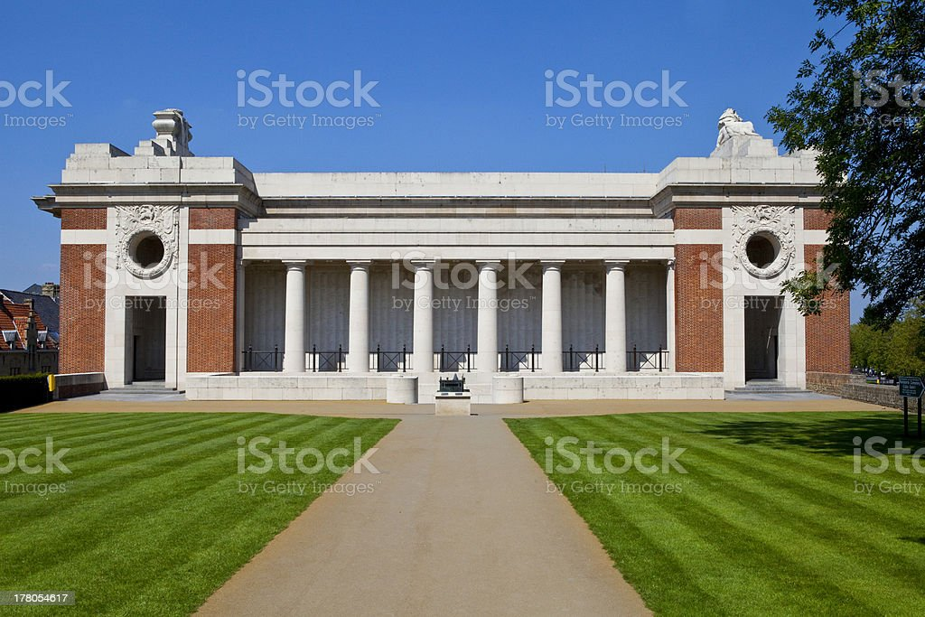 Side View of the Menin Gate in Ypres royalty-free stock photo