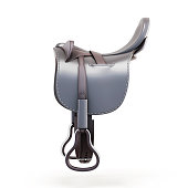 Side view of the saddle isolated on a white background. 3d rendering.