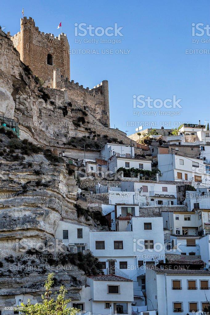 Side view of the village, on top of limestone mountain zbiór zdjęć royalty-free