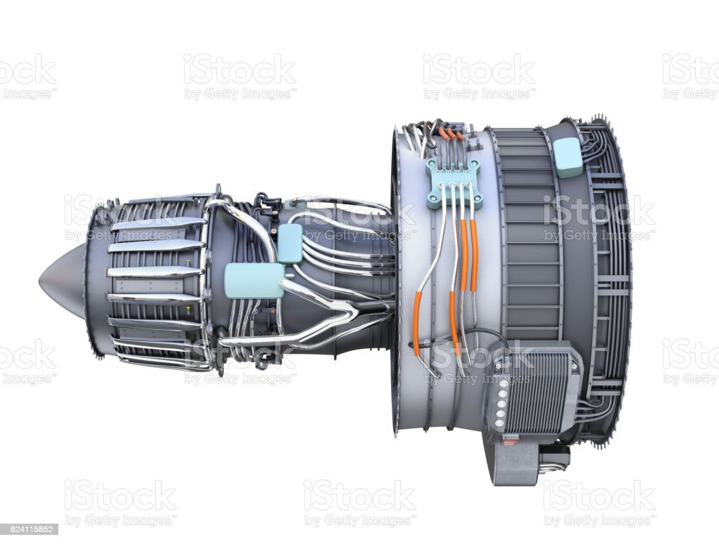Side view of turbofan jet engine isolated on white background stock photo