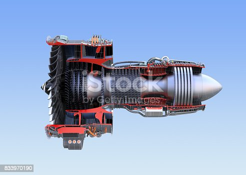 istock Side view of turbofan jet engine's cross section wireframe isolated on blue background 833970190
