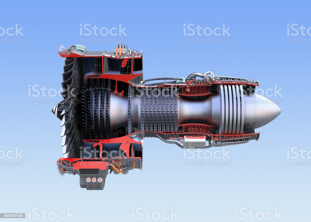 Side view of turbofan jet engine's cross section wireframe isolated on blue background stock photo