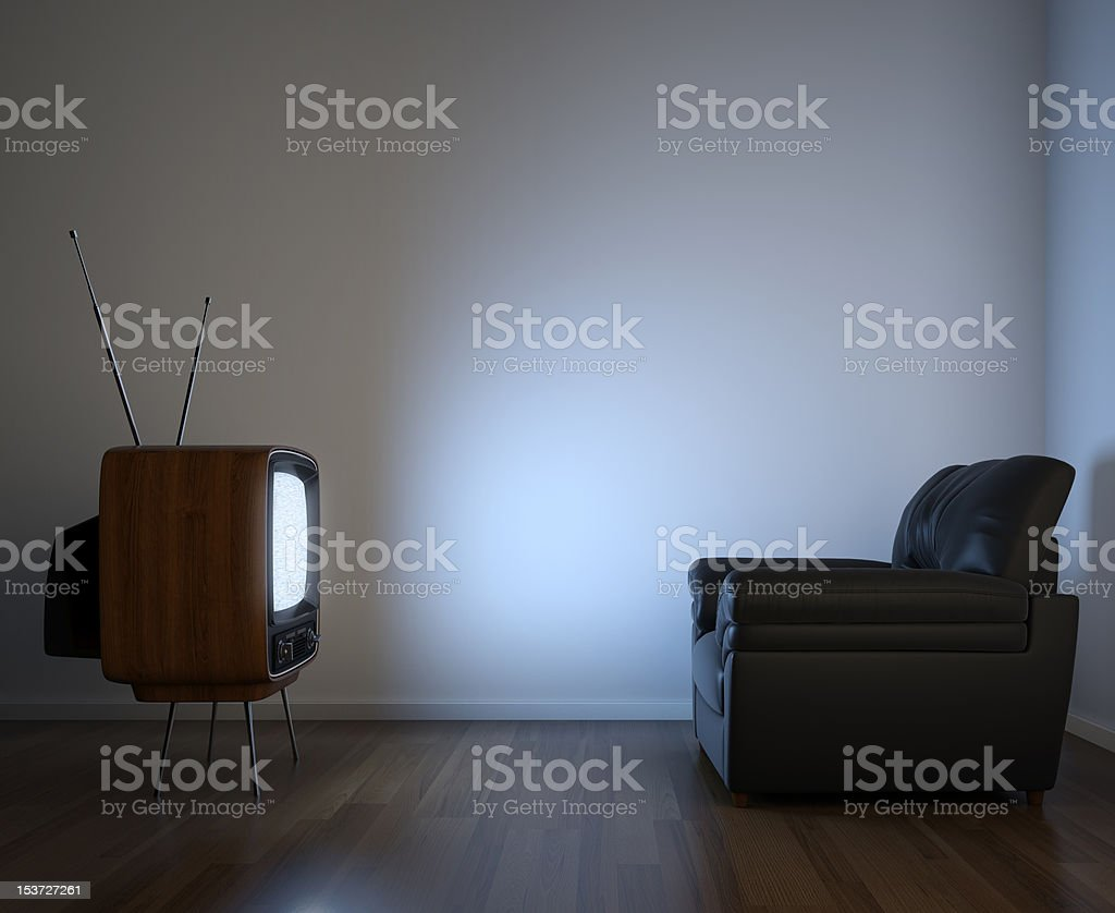side view of tv and couch stock photo