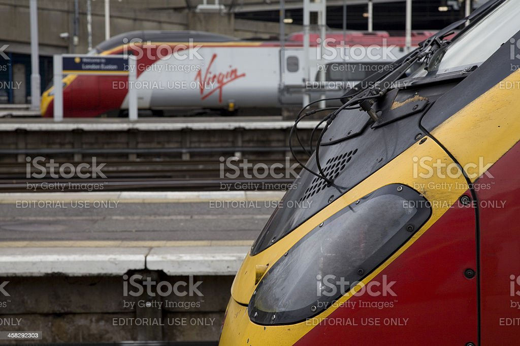 Side View of two Pendolino Virgin Trains stock photo