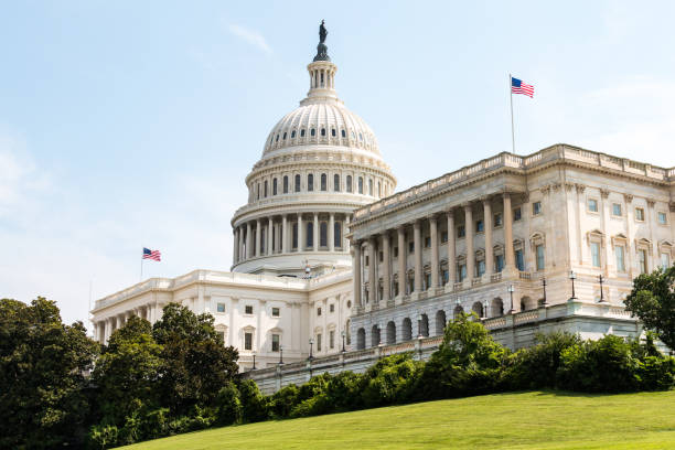 Side View of U.S. Capitol Building Building in Washington, DC stock photo