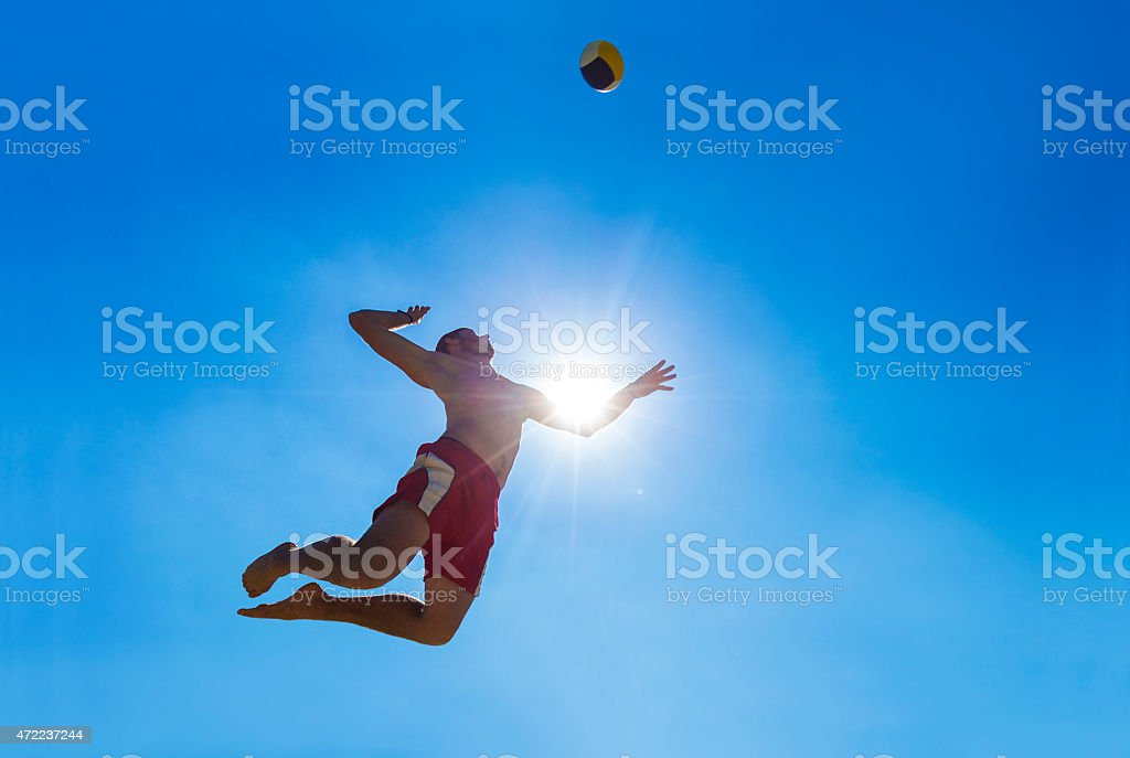 Side View of Volleyball Player Serving the Ball stock photo