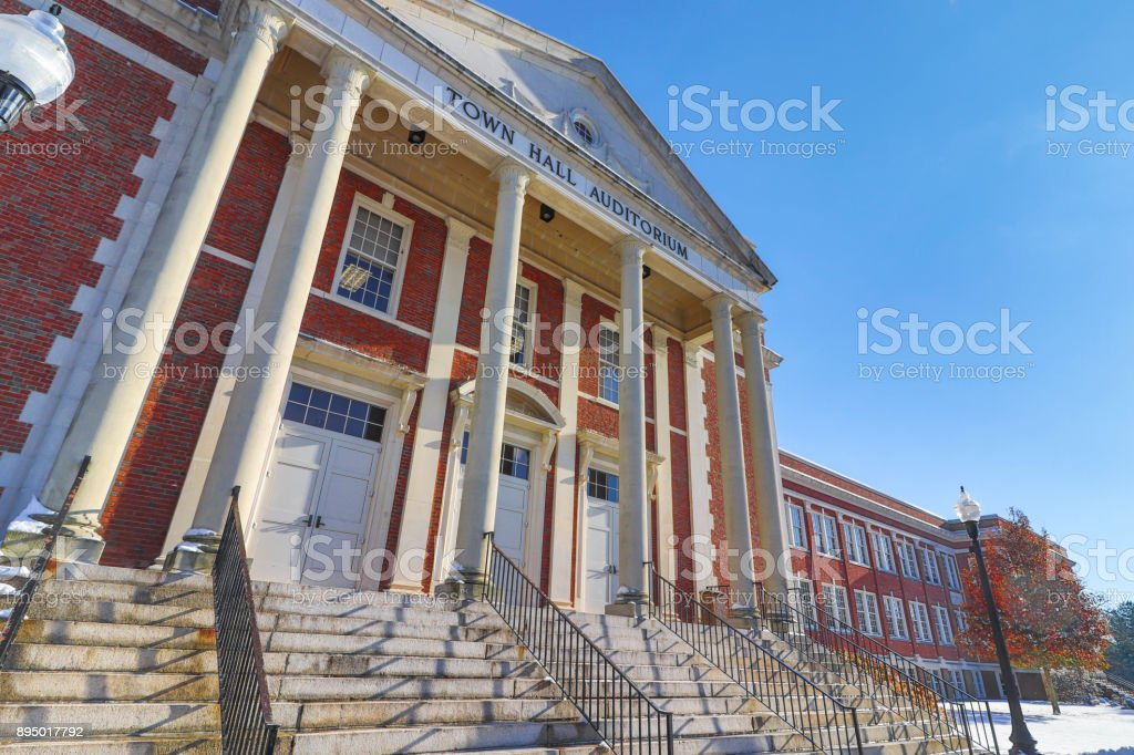 Side View of West Hartford Town Hall stock photo