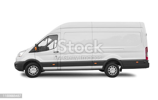 Side view of white van for branding with clipping path
