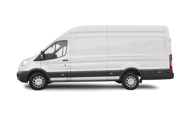 Side view of white van for branding with clipping path stock photo